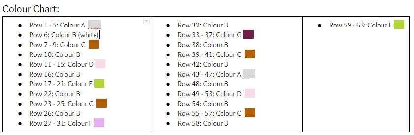 Bellame Crochet Baby Blanket Colour Chart