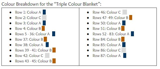 Colour Chart for the Mountain Mama Blanket