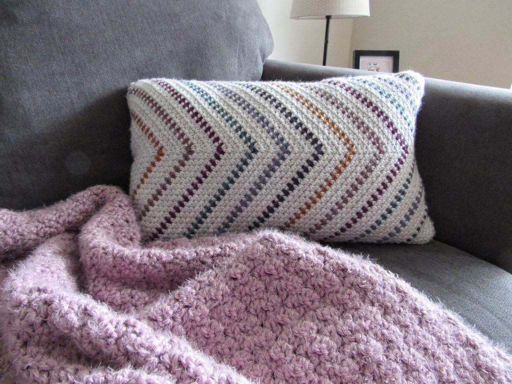 Moss Stitch Striped Crochet Pillow