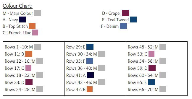 Colour Chart for the Whimsical Stripes Pillow