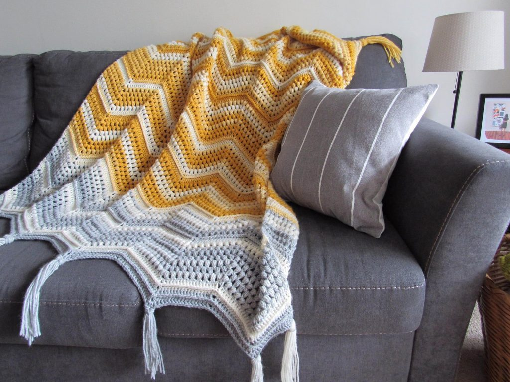 Chevron Puff Stitch Textured Blanket