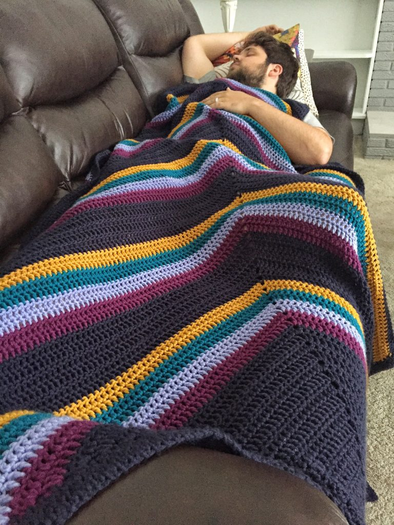 Crochet Striped Blanket Double Crochet Free Pattern