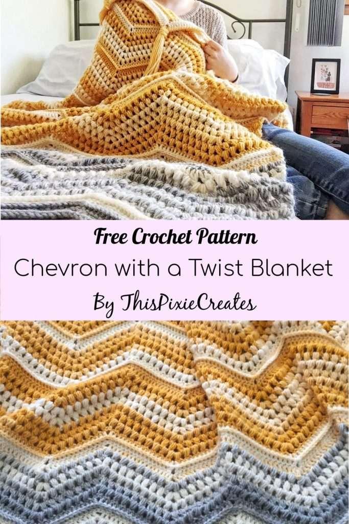 Chevron with a Twist Crochet Blanket Pattern Pinterest Pin