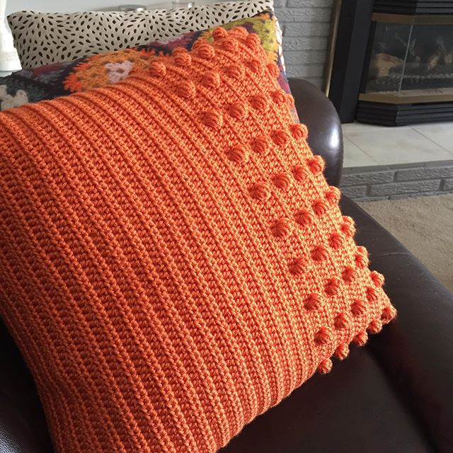 Modern Crochet Pillow with Bobbles Free Pattern