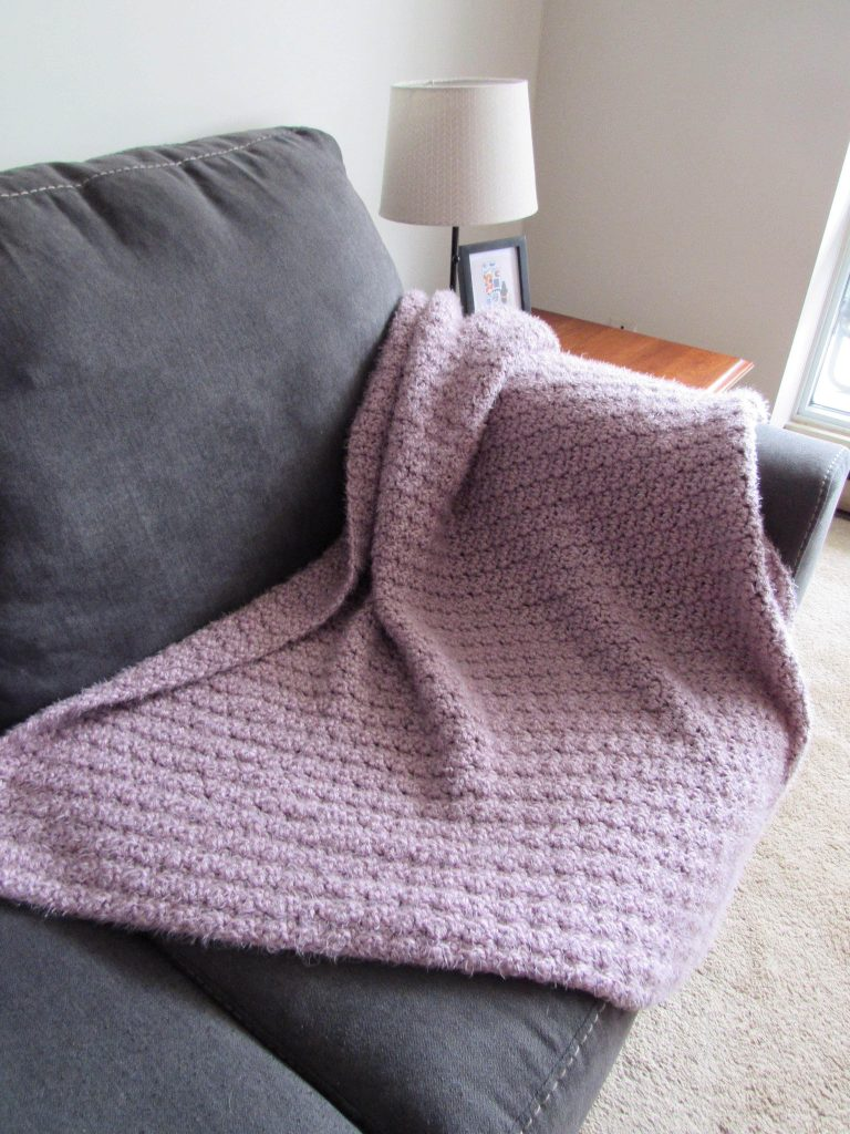 Purple Lemon Peel Stitch Crochet Blanket