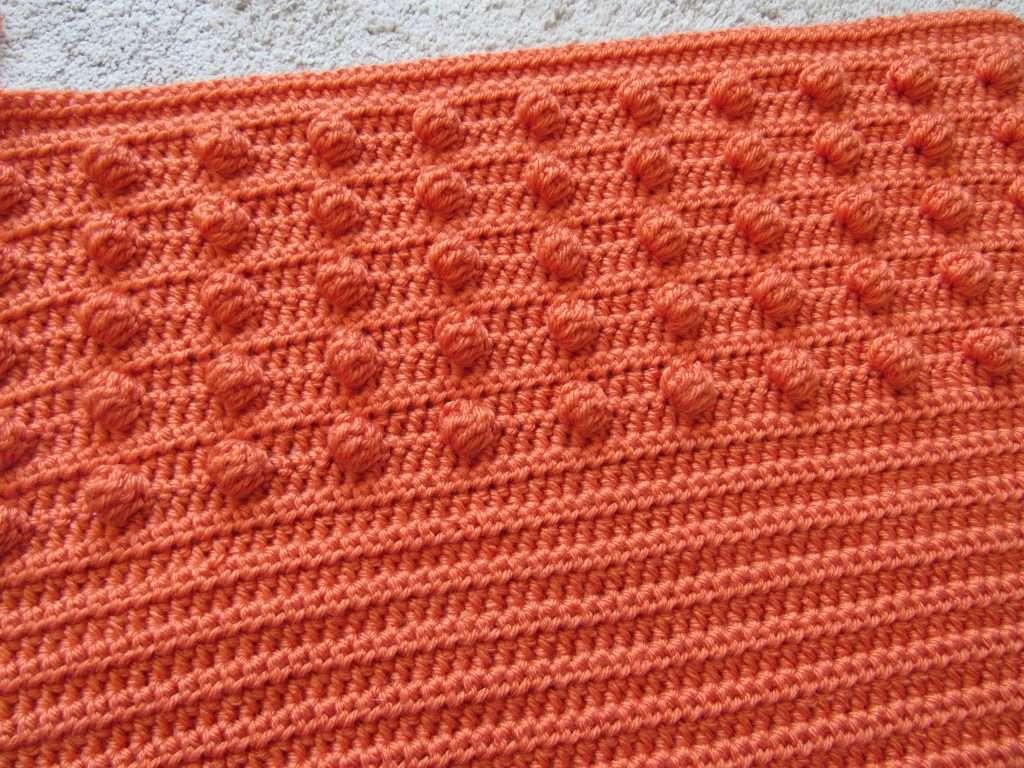 Orange Bobble Stitches Crochet and Half Double Crochets