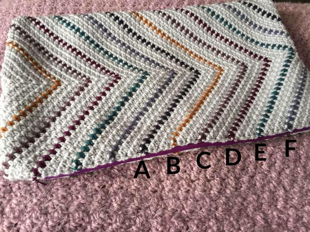 Flat Lay of a Crochet Striped Pillow