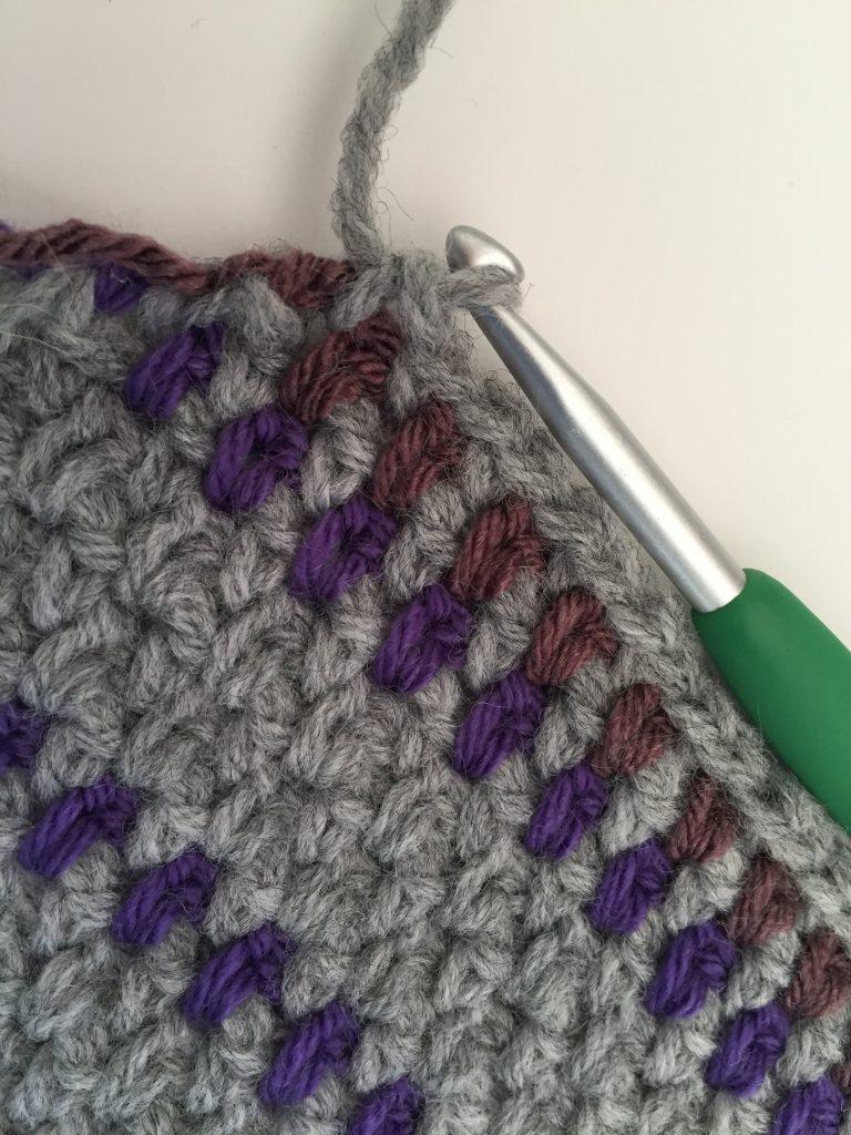 Moss Stitch Stripes on an Angle