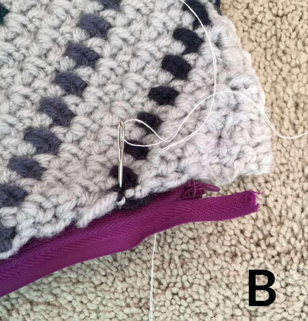 Adding a Zipper to a Crochet Pillow