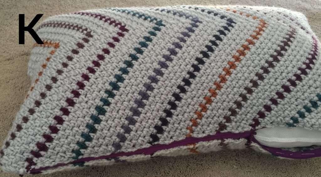 Moss Stitch Striped Pillow with Zipper Crochet Pattern