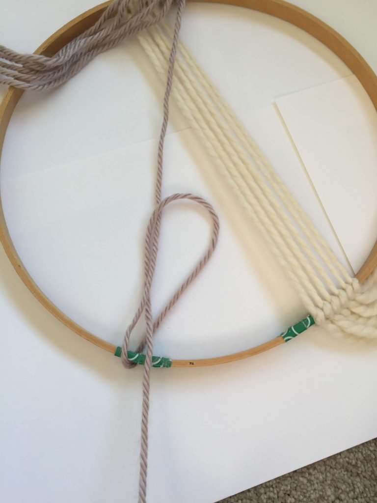 Macrame Knot on an Embroidery Hoop