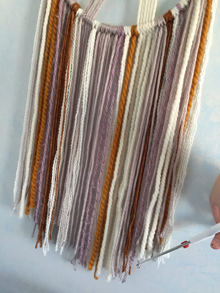 Shaping the Fringe on a Wall Hanging