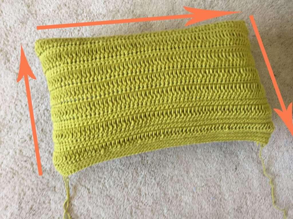 Sewing Up a Green Crochet Pillow
