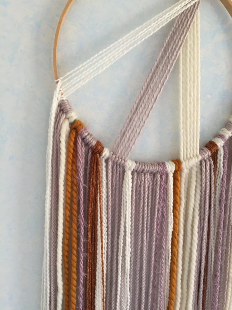 DIY Macrame Wall Hanging on Embroidery Hoop with Scrap Yarn Tutorial