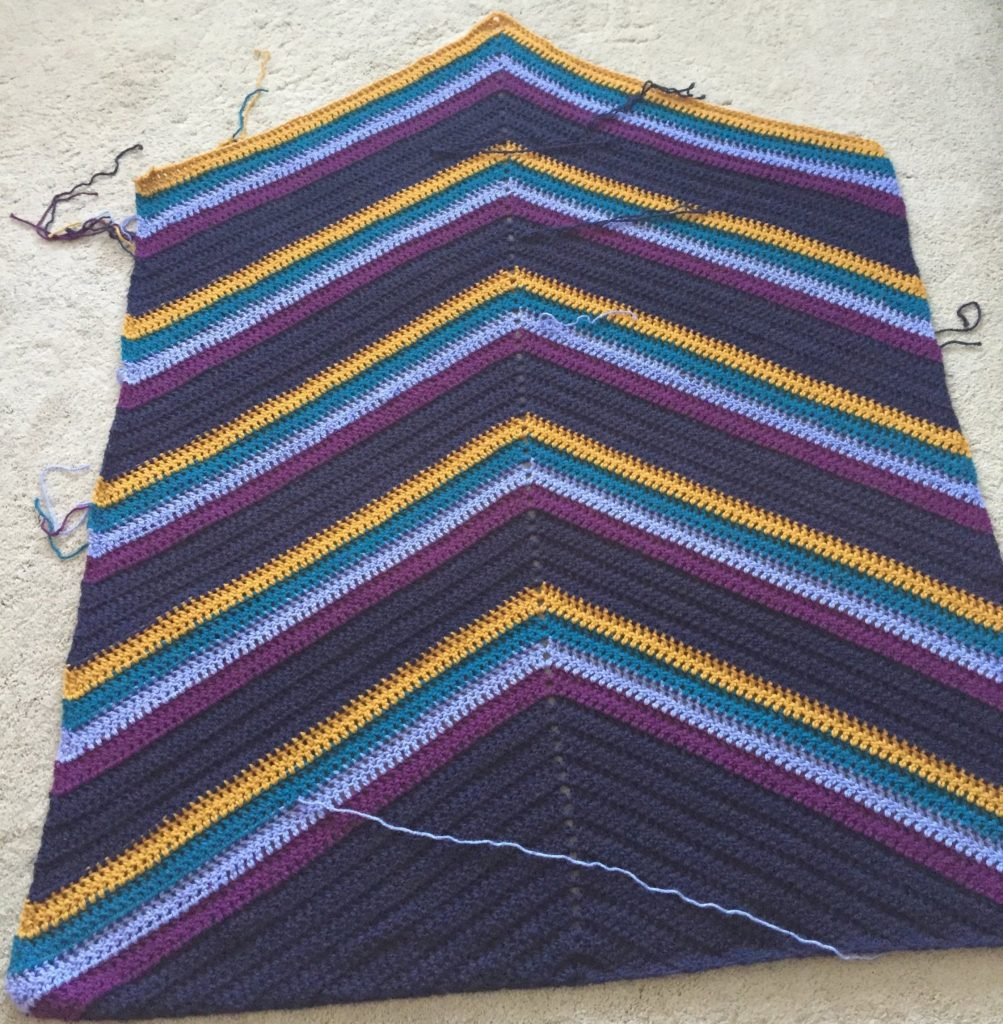 Crochet Triangle Striped Blanket Pattern