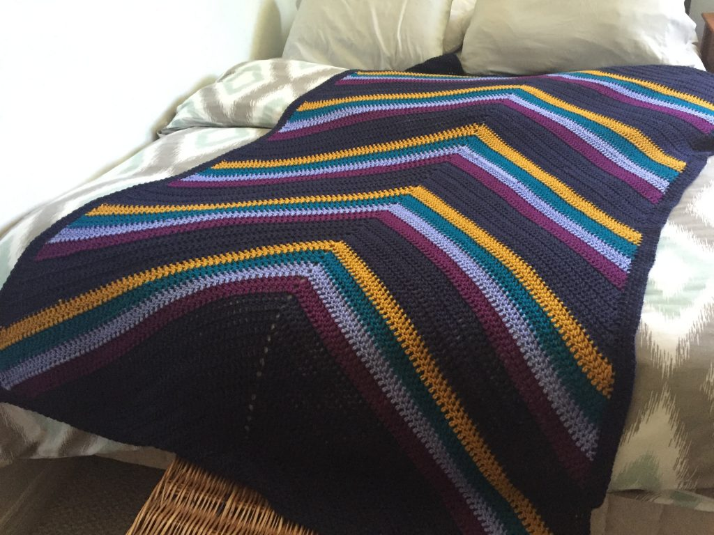 Double Crochet Striped Blanket Free Pattern