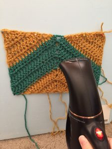 Steam Blocking a Crochet Rectangle