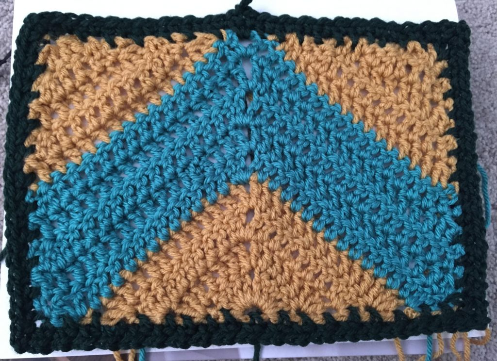 2 Rows of Moss Stitch Border for Blanket