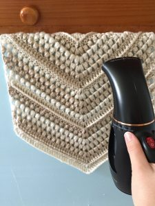 Steam Blocking a Crochet Wall Hanging