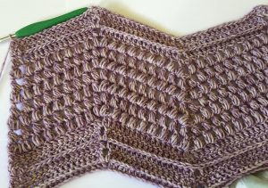 Crochet Puff Stitch Blanket Swatch