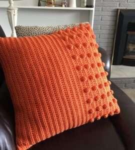 Mid Century Modern Orange Crochet Pillow Free Pattern