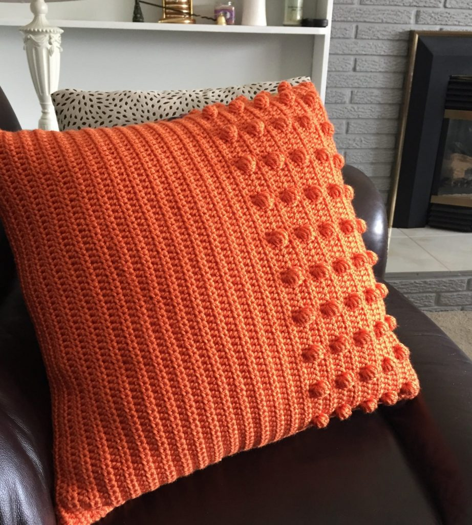 Mid Century Modern Orange Crochet Pillow Free Pattern