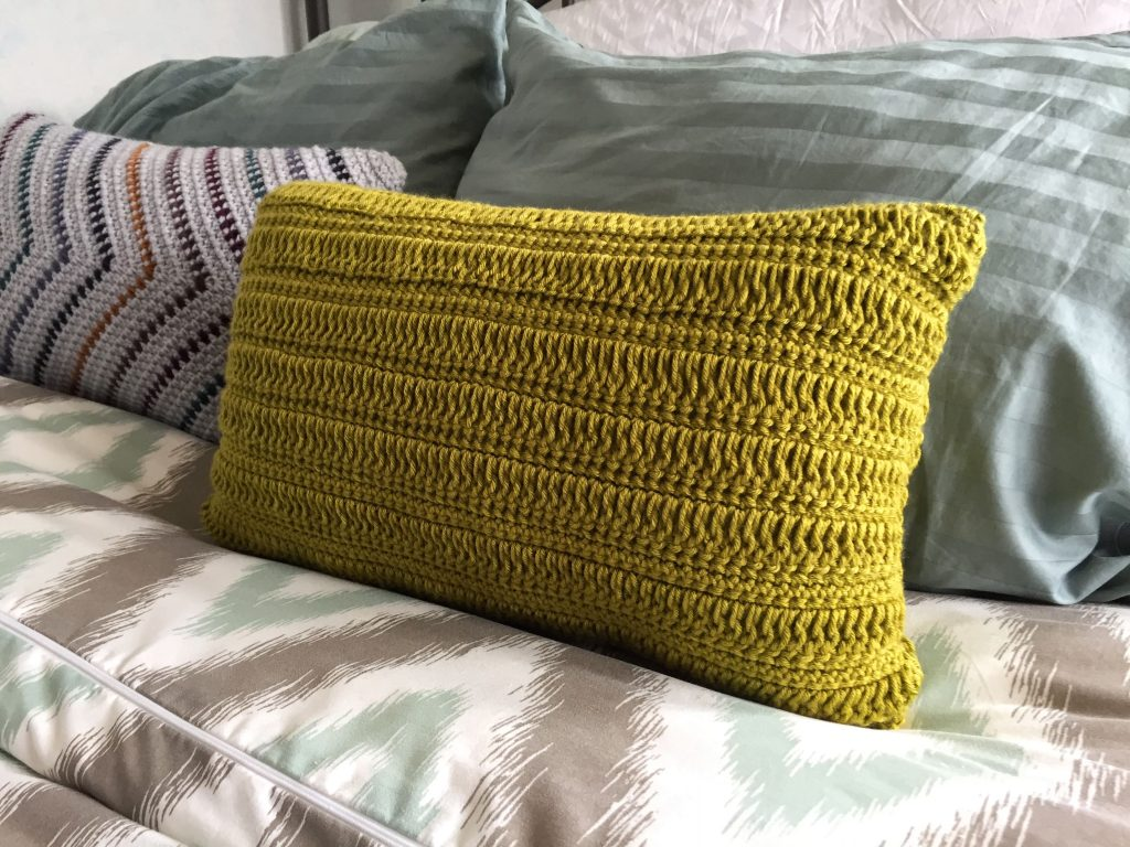 Long Double Crochet Green Pillow Pattern