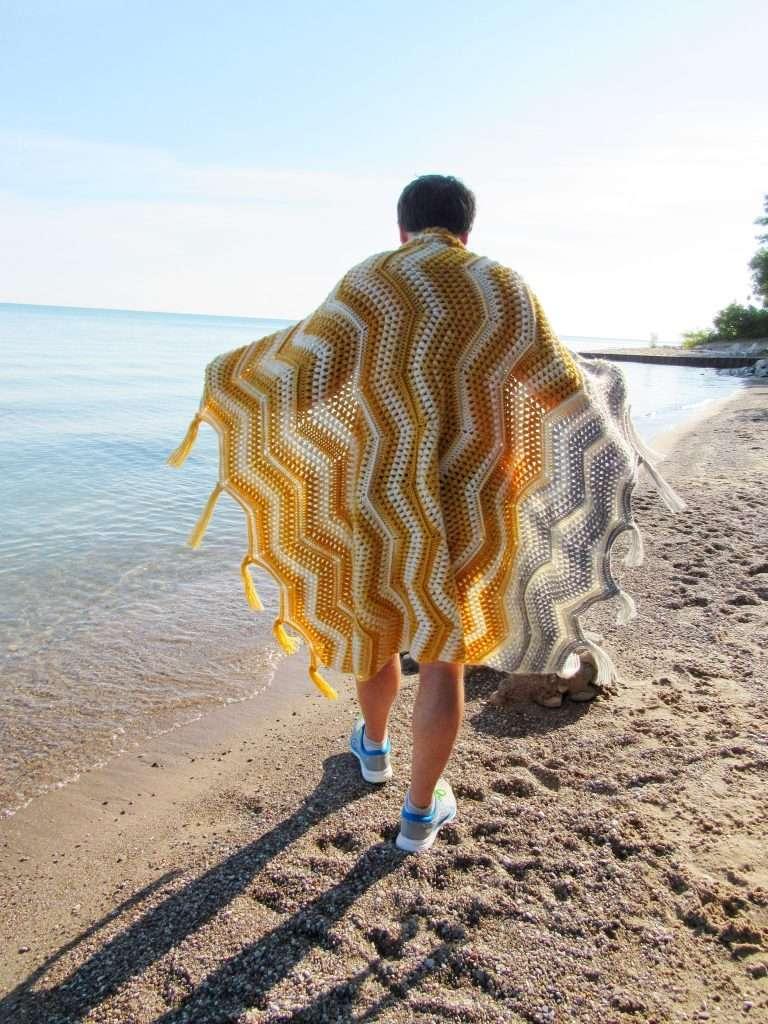 Lion Brand Scarfie Yarn Crochet Chevron Blanket