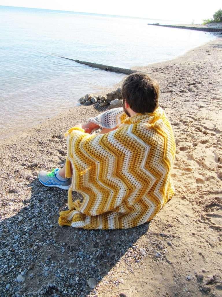 Crochet Chevron Blanket with Puff Stitches