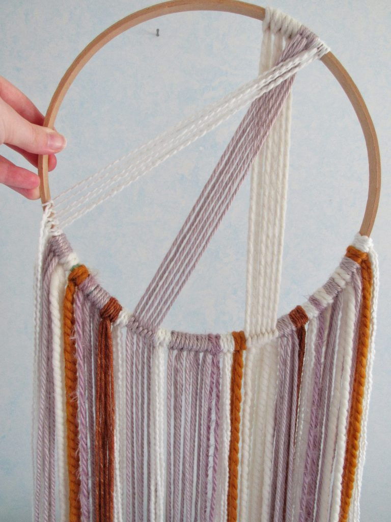Circular Macrame Hanging DIY Tutorial with Scrap Yarn
