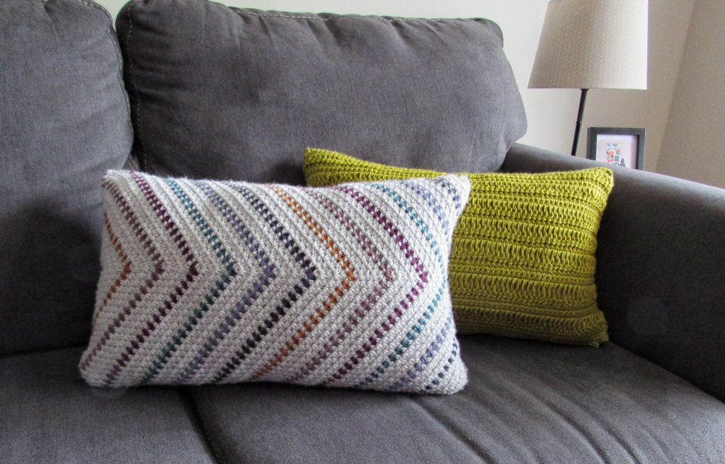 Striped Moss Stitch Pillow and Macrame Inspired Crochet Pillow