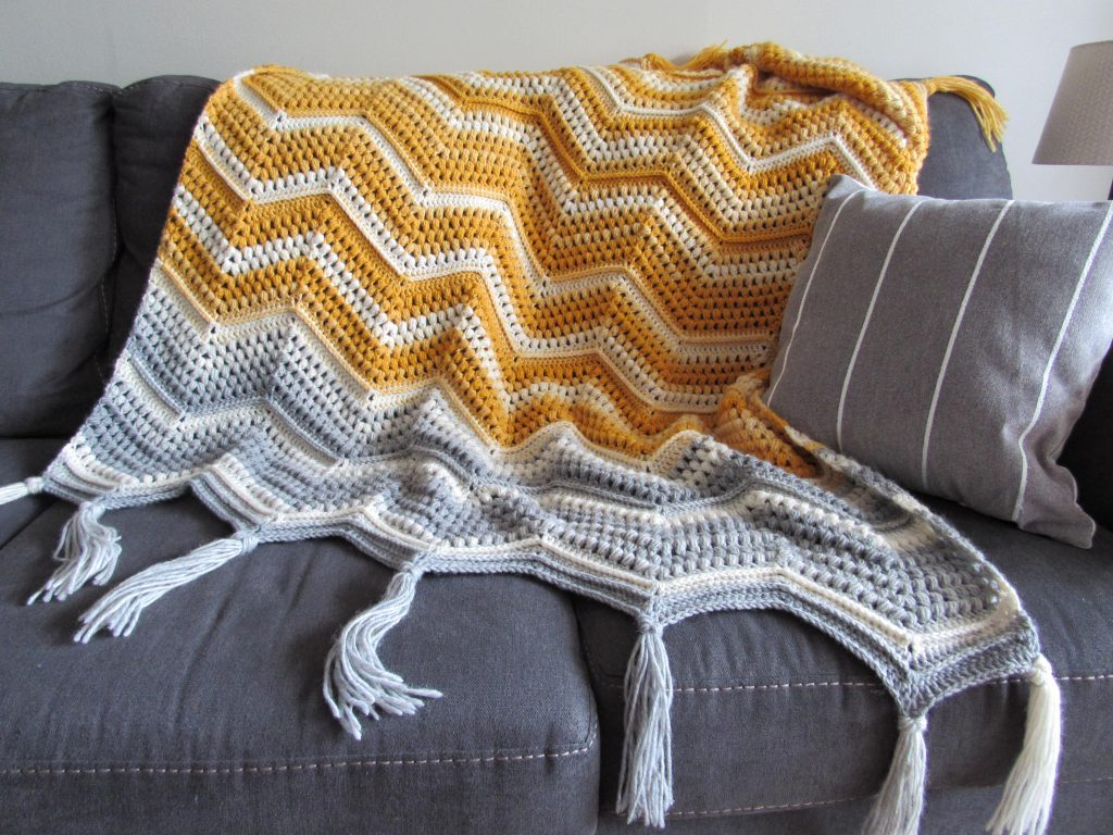 Yellow and Grey Crochet Chevron Blanket Free Pattern