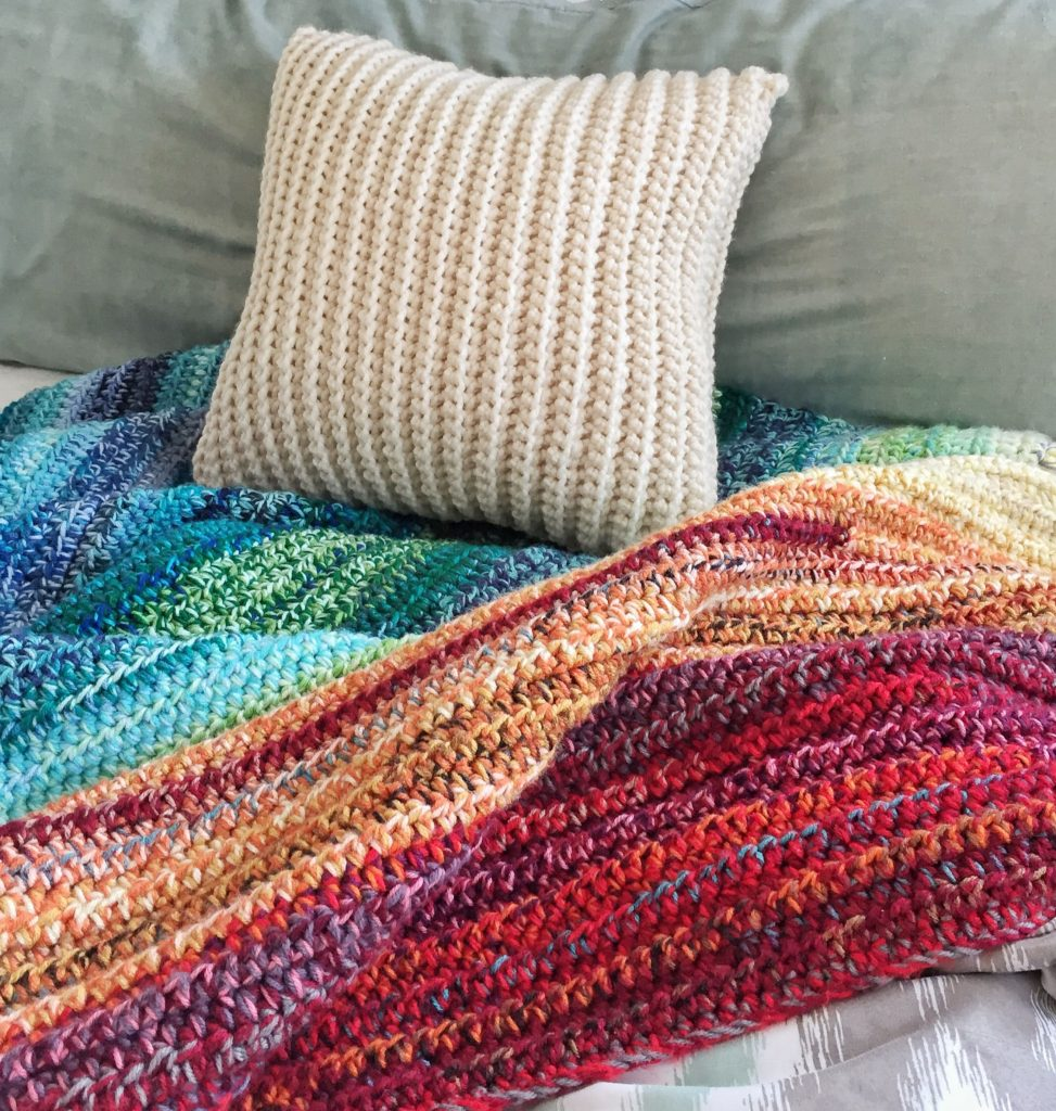 How To Crochet An Easy Weighted Rainbow Blanket This Pixie Creates