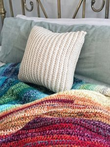 Easy Crochet Pillow for Beginners with Rainbow Blanket