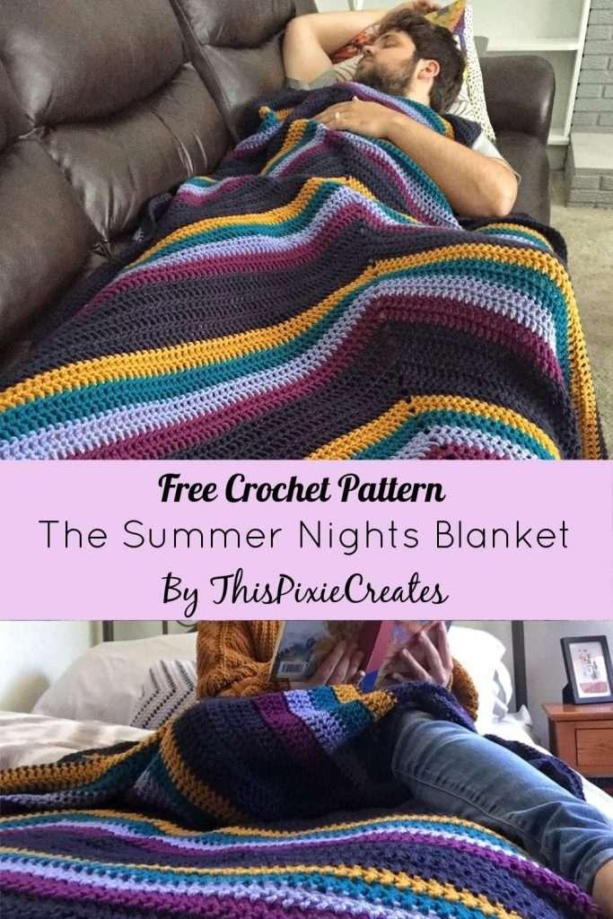 The Summer Nights Crochet Blanket Pinterest Pin