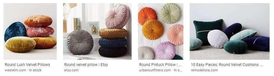 Velvet Circular Pillows Search Engine Results