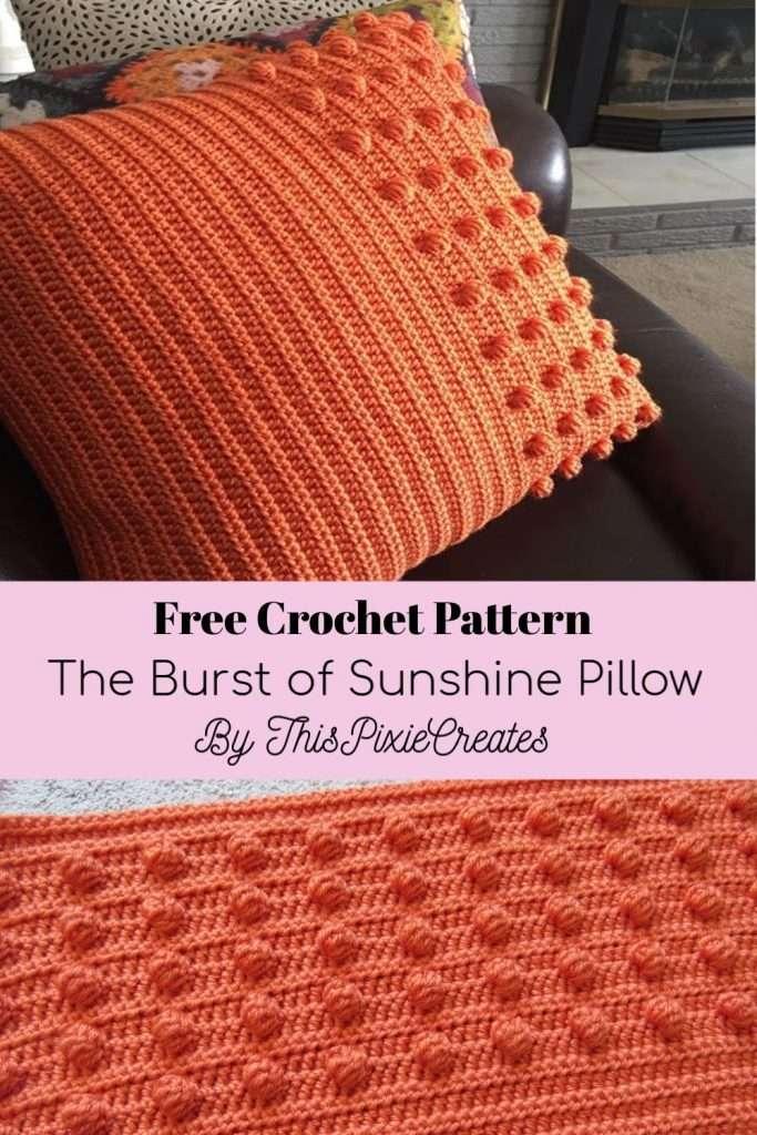Burst of Sunshine Crochet Pillow Pinterest Pin