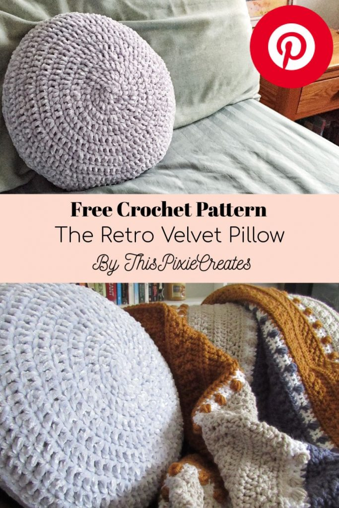 Retro Velvet Circular Crochet Pillow Pattern Pinterest Pin