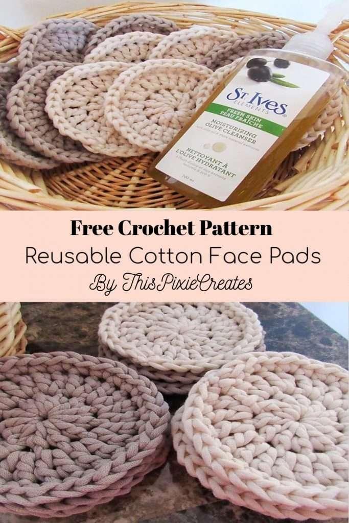 Reusable Cotton Face Pads Crochet Pattern Pinterest Pin