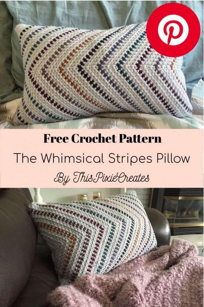 The Whimsical Stripes Crochet Pillow Pinterest Pin
