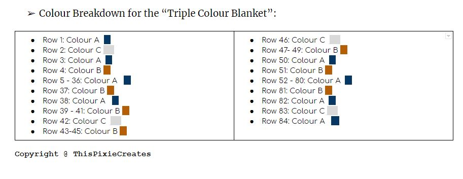 Colour Chart for the Mountain Mama Crochet Blanket