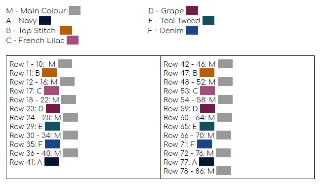 Colour Chart for the Crochet Striped Pillow Pattern