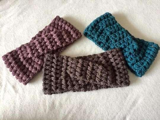 Crochet Puff Stitch Twisted Headbands Free Pattern