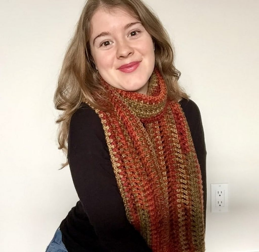 Touch of Fall Crochet Scarf Free Pattern for Beginners