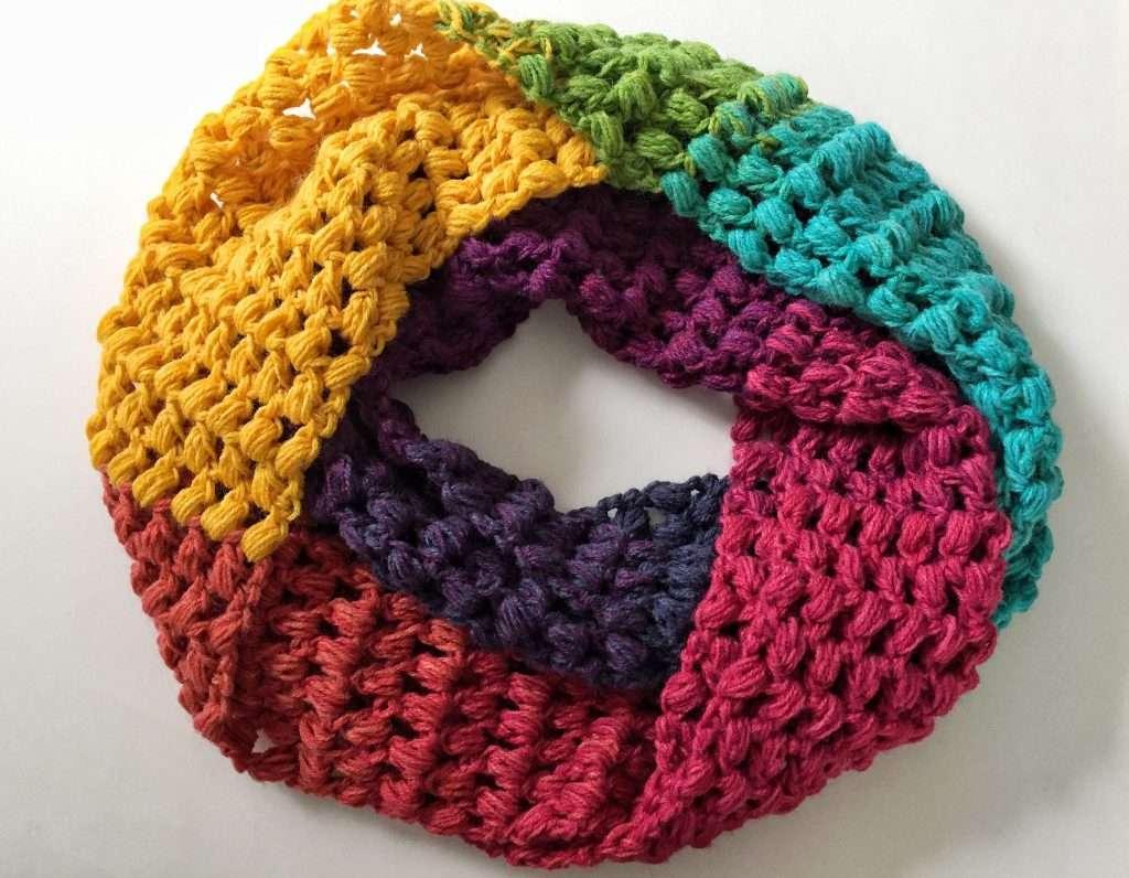 Crochet Puff Stitch Infinity Scarf