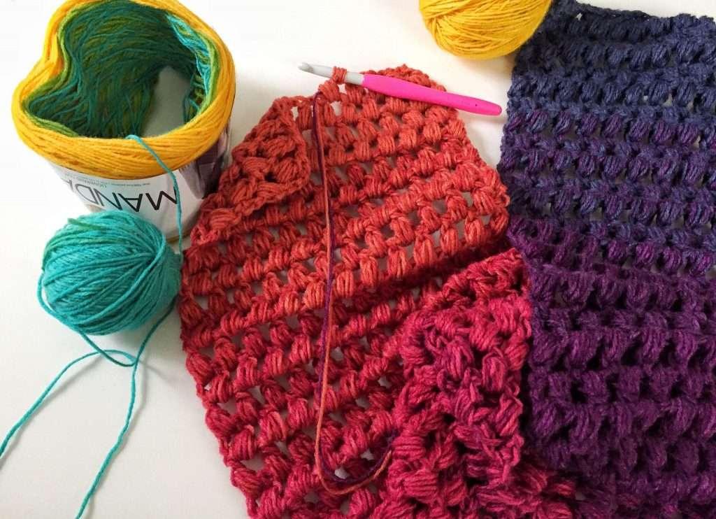 Puff Stitch Infinity Scarf Crochet WIP