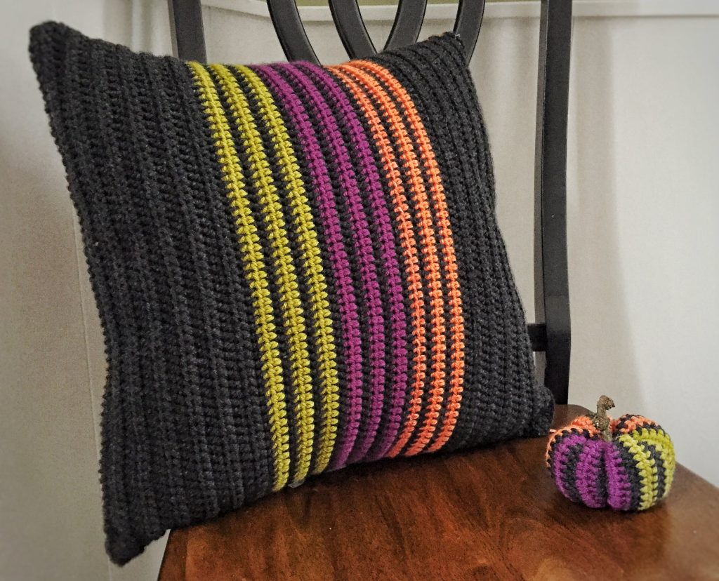 Modern Vertical Striped Crochet Pillow
