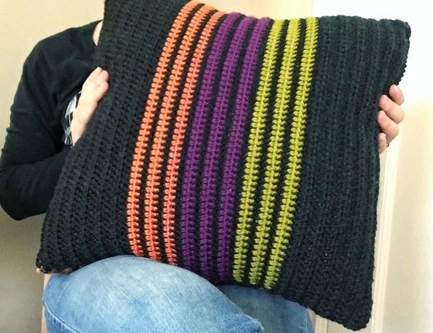 Halloween Striped Crochet Pillow