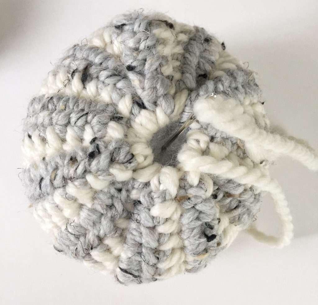 Securing the Top of a Crochet Pumpkin
