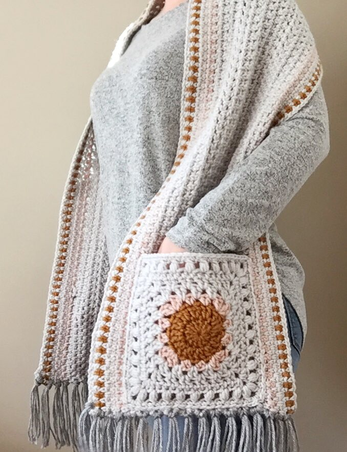 Granny Square Pocket Shawl Crochet Pattern